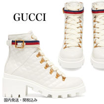 GUCCI Round Toe Rubber Sole Casual Style Street Style Plain