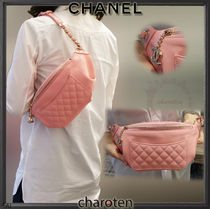 CHANEL ICON Street Style Chain Plain Leather Elegant Style Shoulder Bags