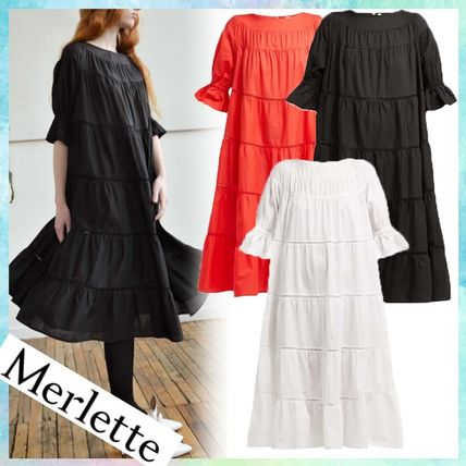 Casual Style A-line Puffed Sleeves Cotton Medium Dresses