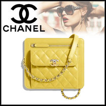 CHANEL Lambskin Chain Plain Party Style Clutches
