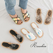 Leopard Patterns Open Toe Casual Style Plain PVC Clothing