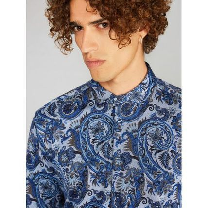 Flower Patterns Paisley Long Sleeves Cotton Luxury Shirts