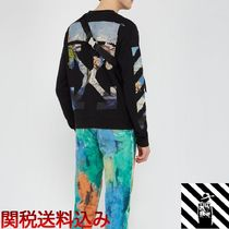 Off-White Crew Neck Street Style Long Sleeves Cotton Sweatshirts