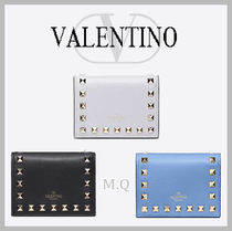 VALENTINO Studded Plain Leather Folding Wallets