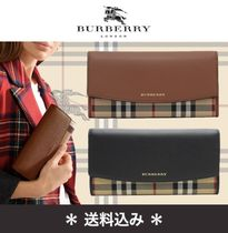 Burberry Tartan Other Check Patterns Leather Long Wallets
