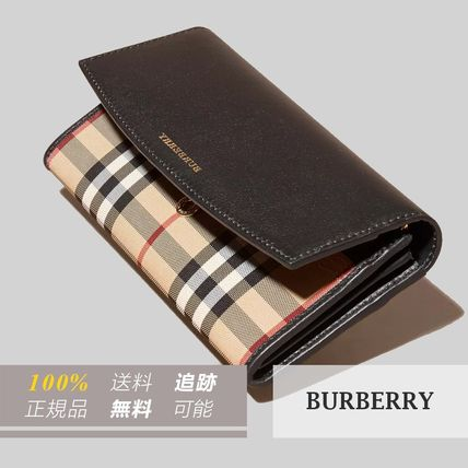 Tartan Other Check Patterns Leather Long Wallets