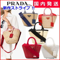 PRADA Stripes Blended Fabrics 2WAY Plain Straw Bags