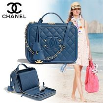CHANEL Calfskin Vanity Bags 2WAY Chain Elegant Style Shoulder Bags