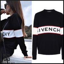 GIVENCHY Crew Neck Stripes Unisex Wool Street Style Long Sleeves