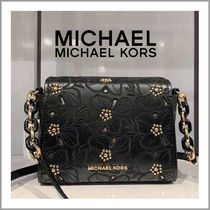 Michael Kors Flower Patterns Casual Style Studded 2WAY Plain Leather