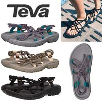 Teva Open Toe Rubber Sole Casual Style Blended Fabrics Plain