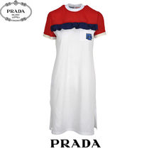 PRADA Crew Neck Short Casual Style Tight Silk Plain Short Sleeves