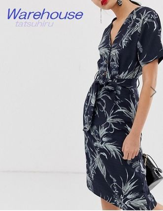 Tropical Patterns Casual Style V-Neck Medium Short Sleeves