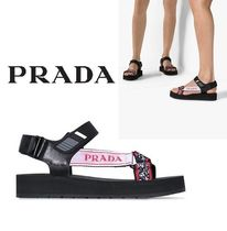 PRADA Open Toe Rubber Sole Sandals