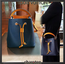 Louis Vuitton NOE Calfskin Tassel Bi-color Plain Purses Elegant Style