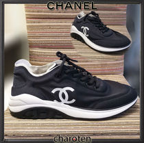 CHANEL Blended Fabrics Street Style Bi-color Plain Sneakers