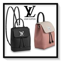 Louis Vuitton Casual Style Calfskin Blended Fabrics Plain Backpacks