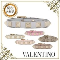 VALENTINO Casual Style Studded Leather Bracelets