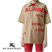 Burberry Casual Style Cotton Short Sleeves Shirts & Blouses