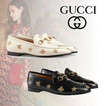 GUCCI Star Platform Plain Toe Moccasin Casual Style Plain Leather