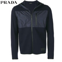 PRADA Wool Blended Fabrics Long Sleeves Plain Hoodies