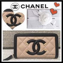 CHANEL ICON Unisex Calfskin Bi-color Plain Folding Wallets