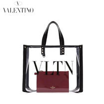 VALENTINO Casual Style Studded Crystal Clear Bags PVC Clothing Totes
