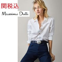 Massimo Dutti Long Sleeves Plain Cotton Medium Shirts & Blouses