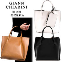 GIANNI CHIARINI Casual Style A4 2WAY Plain Leather Handmade Totes