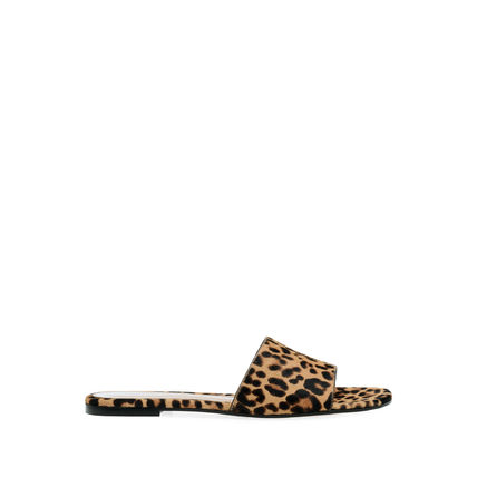 Leopard Patterns Open Toe Casual Style Plain Leather