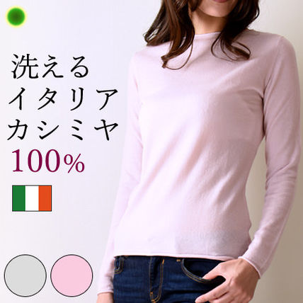 Casual Style Cashmere Boat Neck Long Sleeves Plain Medium