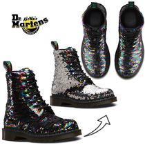 Dr Martens 1460 Round Toe Rubber Sole Lace-up Casual Style Blended Fabrics