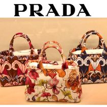 PRADA CANAPA Flower Patterns Canvas 2WAY Elegant Style Totes