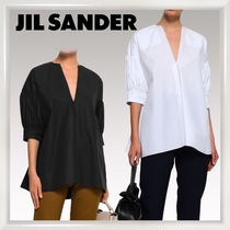 Jil Sander Puffed Sleeves Plain Cotton Medium Elegant Style