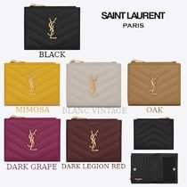 Saint Laurent Calfskin Plain Card Holders