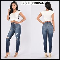 FASHION NOVA Denim Street Style Plain Long Skinny Jeans