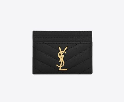 Saint Laurent Calfskin Plain Logo Card Holders