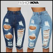 FASHION NOVA Short Casual Style Street Style Plain Cotton