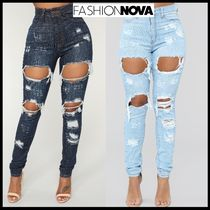FASHION NOVA Street Style Plain Cotton Long Skinny Jeans