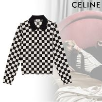 CELINE Other Check Patterns Unisex Wool Fine Gauge Street Style