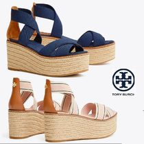 Tory Burch Stripes Open Toe Plain Leather Elegant Style