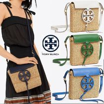 Tory Burch MILLER Stripes Blended Fabrics Plain Leather Straw Bags