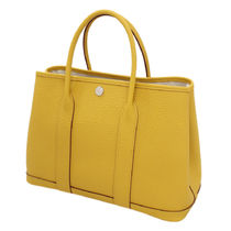 HERMES Garden Party Plain Leather Office Style Totes
