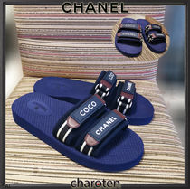 CHANEL ICON Stripes Open Toe Rubber Sole Casual Style Unisex