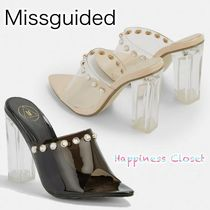 Missguided Open Toe Plain Block Heels With Jewels Elegant Style