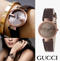 GUCCI Unisex Leather Analog Watches