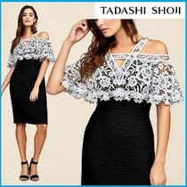 TADASHI SHOJI Flower Patterns Tight Plain Medium Elegant Style Dresses