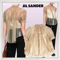 Jil Sander Stripes Casual Style Medium Puff Sleeves Shirts & Blouses