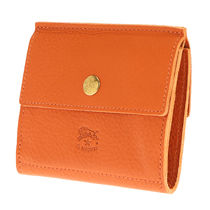 IL BISONTE Unisex Street Style Plain Leather Folding Wallets