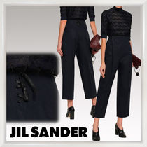 Jil Sander Plain Cotton Elegant Style Cropped & Capris Pants